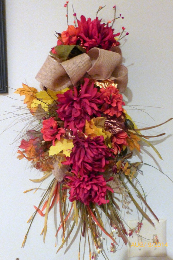 Autumn Door Swag - Fall Wreaths -Thanksgiving decor - Door Swags - Fall Door Swags - Julie Butler Creations