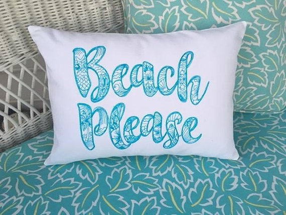 Beach Pillow cover - Embroidered pillow cover - Beach House Decor