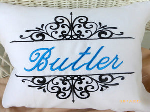 Personalized wedding gift- Decorative Embroidered Pillow - Monogram pillow - Julie Butler Creations
