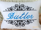 Monogrammed Pillow - Decorative Embroidered Pillow - Personalized Wedding Gift - - Julie Butler Creations