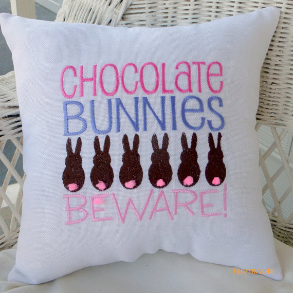 Easter pillow - Embroidered Pillow -Chocolate Bunnies Easter Decoration - Burlap bunny pillow - Julie Butler Creations