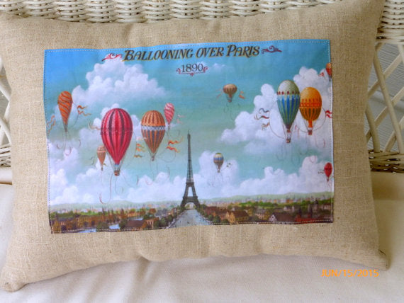 Paris Pillows - Ballooning over Paris Vintage 1890 poster pillow - French Country Decor - Julie Butler Creations