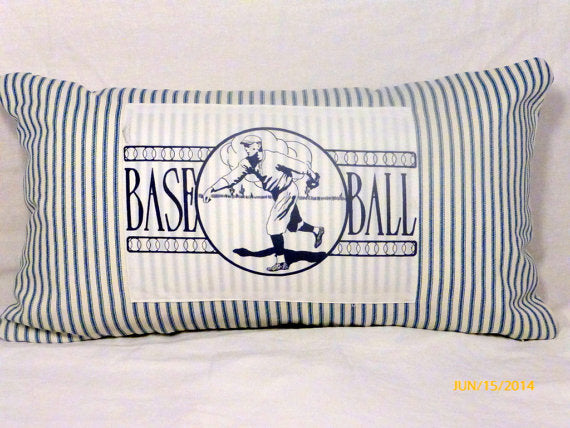 Baseball Pillow Cover - Vintage Baseball player - sports pillow cover - 12x22 Lumbar pillow cover - Julie Butler Creations