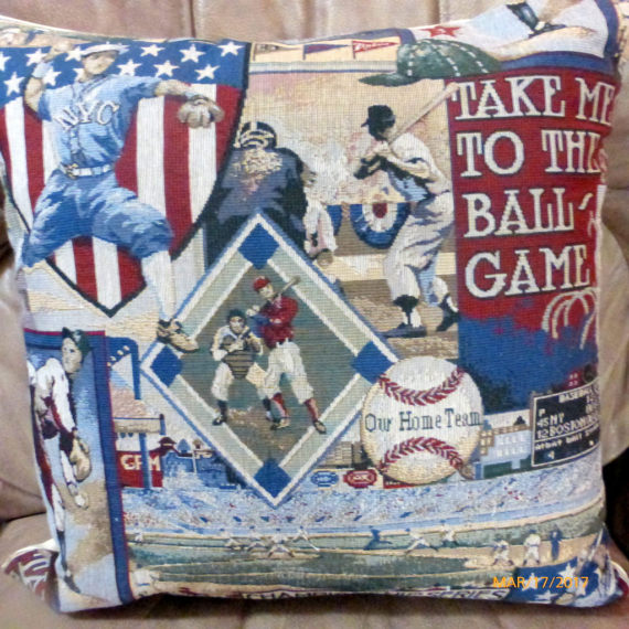 Baseball pillow cover - Vintage baseball tapestry pillow -Boys room decor