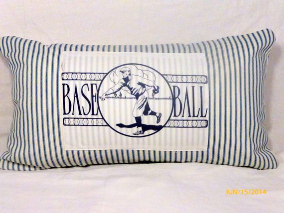 Baseball Pillow Cover - Vintage Baseball player- sports pillow cover - 12x22 Lumbar pillow cover - Julie Butler Creations