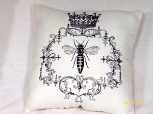 Paris pillows - Vintage French Pillows - Queen Bee Pillow - French Country Decor - Julie Butler Creations