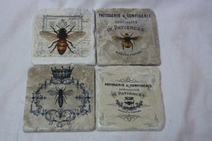 Bee coasters - Travertine drink coasters - Stone coasters - Bees - French Country Decor - Julie Butler Creations