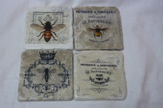 Bee coasters - Travertine drink coasters - Stone coasters - Bees - French Country Decor