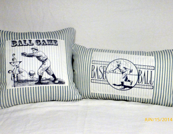 Baseball Pillow Covers-  Vintage Baseball player -Blue Stripe - sports pillow cover - Julie Butler Creations