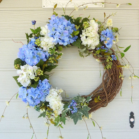 Blue Hydrangea Wreath   Wreath   Door Wreath   Summer Wreath   Front Door  Decor ...