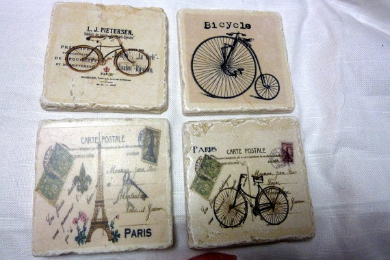 French Bicycles Travertine coasters - set of 4 - Vintage French Post cards and bicyclesr