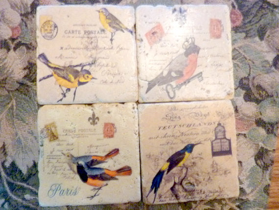 Bird Coasters - Stone Coasters - Travertine Tile Coaster - Vintage French Postcards - Julie Butler Creations