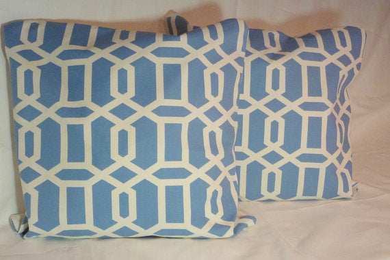 Swavelle/Mill Creek Bondi Wedgewood Blue and Ivory Pillow cover - Decorative pillow cover - Julie Butler Creations