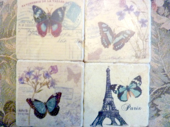 Tumbled Marble Coasters - Stone Coasters - French Postcards - butterflies