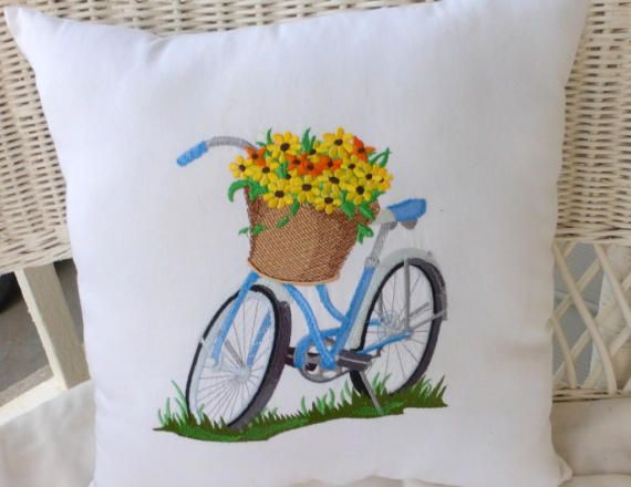 Spring Bicycle Pillow - Accent pillows - Bike pillows - Embroidered bicycle pillow