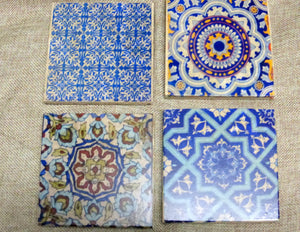 Blue Moroccan tile coasters - Decorative tile coasters - set of 4 - Marble coasters - coasters - Julie Butler Creations
