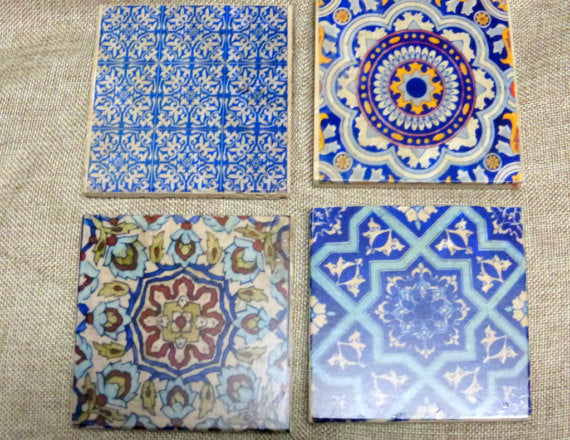 Blue Moroccan tile coasters - Decorative tile coasters - set of 4 - Marble coasters - coasters