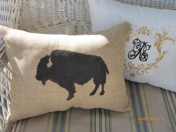 Bison Pillows - Buffalo pillows - Burlap pillows- Bison - animal pillows - Julie Butler Creations