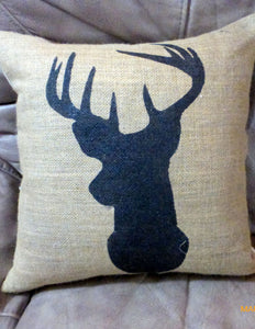 Burlap Deer Pillow Cover - Buck Pillow cover - Burlap pillow - hand painted deer pillow - Julie Butler Creations