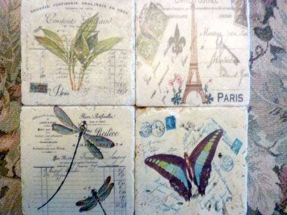 French themed Stone Coasters - Tile Coasters - French Postcards  - French Country decor - Julie Butler Creations