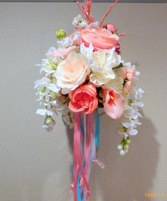 Wedding Centerpiece - Coral tall centerpiece - Cascading Centerpiece - wedding flowers