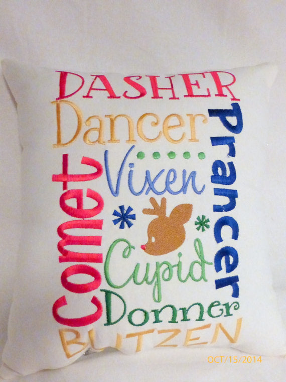 Christmas Pillow - Embroidered Pillow - Christmas gift - Reindeer names - Holiday Pillow - Julie Butler Creations