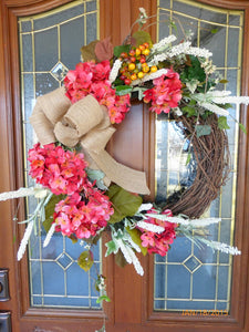 Fall Hydrangea Wreath  Door Wreath   Fall Wreath   Summer Wreath   Front  Door Decor