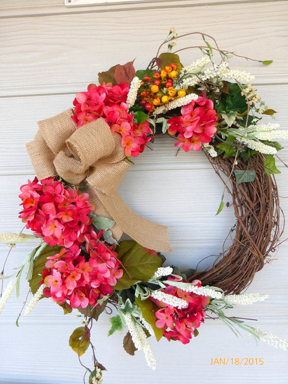Fall Hydrangea Wreath- door wreath - Fall Wreath - Summer Wreath - Front door decor - Wedding Wreath - Julie Butler Creations