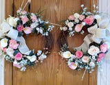 Spring Wreaths - rose and Calla lily Wreath - Summer Wreath - double door decor - Julie Butler Creations