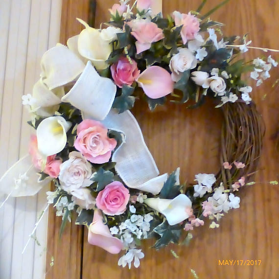 Spring Wreaths - rose and Calla lily Wreath - Summer Wreath - double door decor
