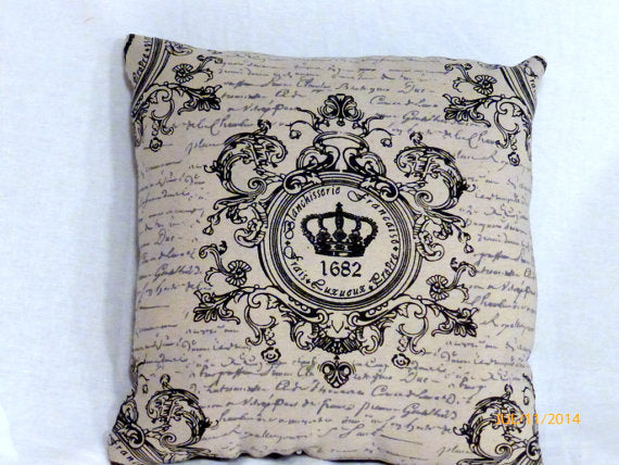 Paris pillow - Crown Pillow - Vintage French Pillow - Decorative Throw Pillow - Julie Butler Creations