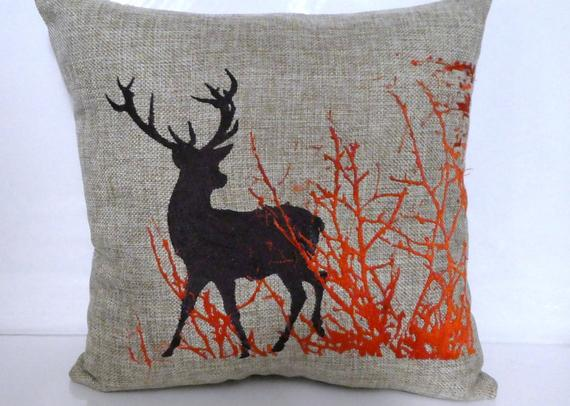 Embroidered Burlap Deer Pillow -Fall pillow - Buck pillow - Julie Butler Creations