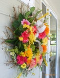 Summer wreaths -Spring wreath - Bright Gerbera Daisy wreath - Front door wreath - home decor