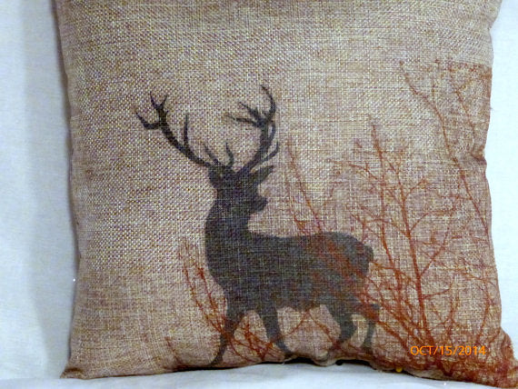 Burlap Deer Pillow - Buck - animal pillow - animal print pillow - accent pillow - Julie Butler Creations