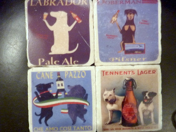 Coasters - Vintage French  Ads - Dog coaster - set of 4 marble coasters - Stone Coasters - Julie Butler Creations