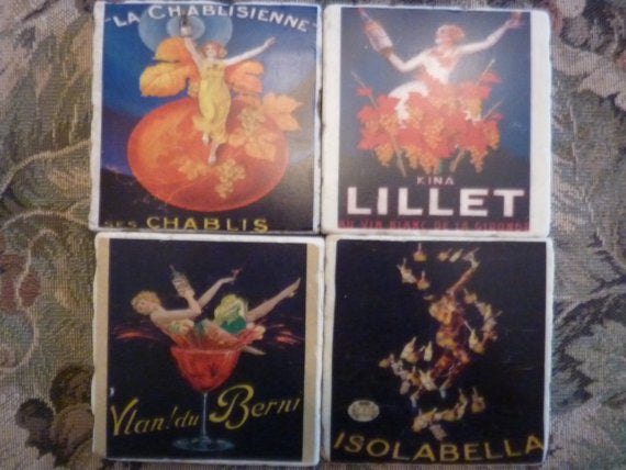 French Coasters - Vintage French Ads - Tile Coasters - French Country Decor