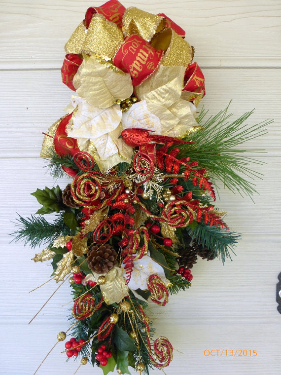 Door Swag - Christmas Wreaths - Christmas door swags- Holiday Door Decor - Julie Butler Creations