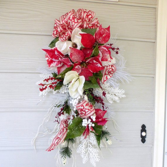 Christmas Door Swag - Red and Whiter Poinsettia door swag - Christmas Decor - Holiday door swags