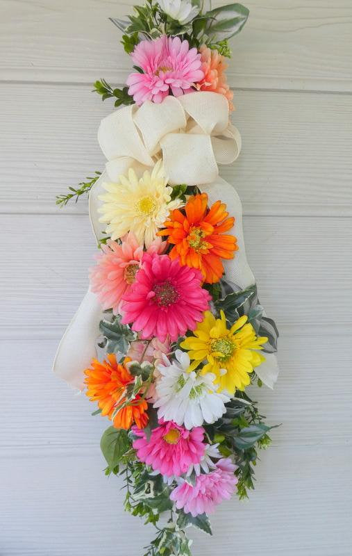 Gerber Daisy Door Swag - door swags -Front door decor - Spring door swags - bright summer swags - Julie Butler Creations