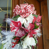 Christmas Door Swag - Red and Whiter Poinsettia door swag - Christmas Decor - Holiday door swags - Julie Butler Creations