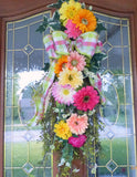Summer door swag -Spring wreath - Daisy door swag - floral wreaths- Home decor - Gerbera Daisy swag - Julie Butler Creations