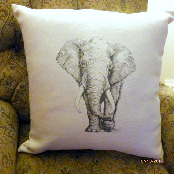 Elephant Pillow cover - Extra Large floor pillows - African Pillows - floor cushion cover - Julie Butler Creations