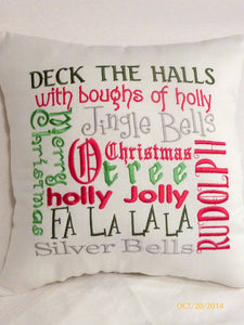 Christmas Subway Art - Christmas Pillow - Embroidered Pillows - Christmas songs -Holiday Pillow