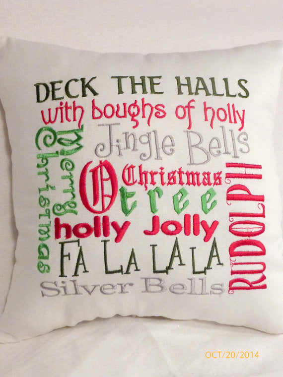 Christmas Subway Art - Christmas Pillow - Embroidered Pillows - Christmas songs -Holiday Pillow - Julie Butler Creations