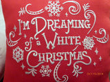 Christmas pillow - Dreaming of a White Christmas - Embroidered Pillows - Red linen pillow