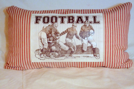 Football pillow cover -  Red Stripe - 12x22 - Vintage Football players decorative pillow - Julie Butler Creations