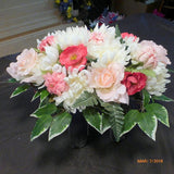 Pink and White Headstone Flowers - Cemetery flowers - Memorial spray -Sympathy flowers - Julie Butler Creations