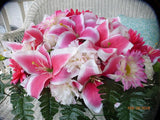 Pink Lily Headstone Flowers - Cemetery flowers - Memorial spray -Sympathy flowers - Julie Butler Creations