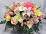 Headstone Saddle - Cemetery flowers - Grave site spray - memorial flowers - Julie Butler Creations