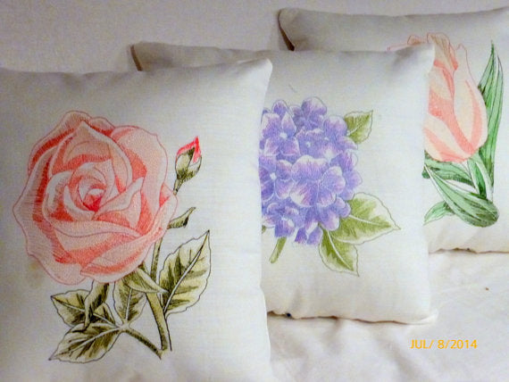 Embroidered pillow - Linen pillow salmon pink embroidered rose - decorative accent pillows - Julie Butler Creations
